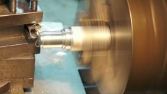 Turning lathe , turning out side aluminum. - stock footage