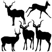 Stock Illustration of Antelope Silhouettes