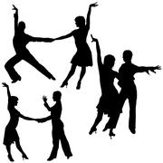 Latino Dancers Silhouettes Stock Illustration