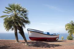 Boat on the land in tenerife Stock Photos