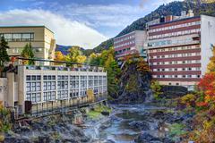 Hot spring resort town in hokkaido, japan Stock Photos