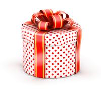 White red doted gift box Stock Illustration