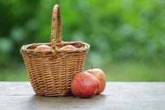 gala apples in a wicker basket - stock photo
