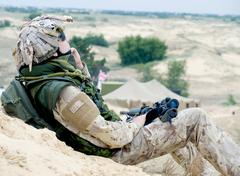 soldier at rest - stock photo