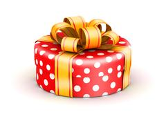 Red doted  gift box Stock Illustration