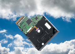 from harddisk to vloud storage - stock photo