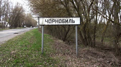 "Road sign ""Chernobyl"" (Chernobyl NPP) Stock Footage"