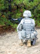 US soldier in action Stock Photos