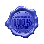 Blue Wax Seal - Satisfaction 100% Garantie - stock illustration
