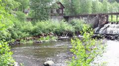 Old dam in spring season Stock Footage