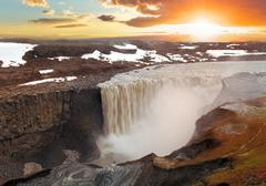 iceland waterfal at sunset - dettifoss - stock photo
