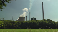 Power plant in green scenery Stock Footage