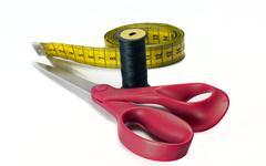 Scissors and measurement tool Stock Photos
