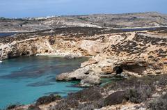 Blue bay on gozo island Stock Photos
