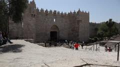 Outside Demascus Gate, Old City Jerusalem. Stock Footage
