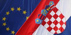 Stock Photo of close up eu and croatian flags