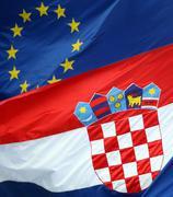 croatian and eu coat of arms - stock photo