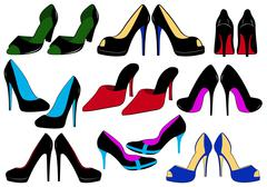 Illustration Of Different Shoes - stock illustration