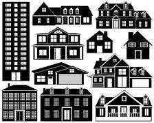 House Silhouettes Set Stock Illustration