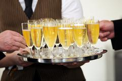 Tray of chilled champagne Stock Photos