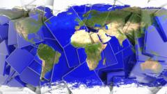 Tile mosaic map of the earth Stock Footage