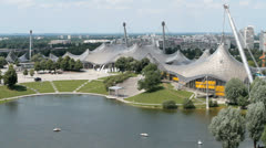 Olympic arena and swim stadium in Munich Stock Footage