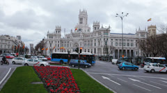 Spain - Madrid, City 17 - Plaza Cibeles Stock Footage