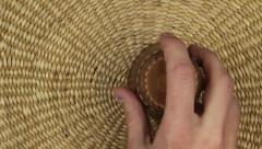five rolling dice on a basket ground - stock footage