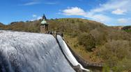 Stock Photo of penygarreg reservoir overflowing water panorama, elan valley, wales.