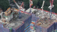 Looking down on construction site Stock Footage