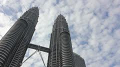 Twin towers of Kuala lumpur - stock footage