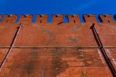 Wall of the Moscow Kremlin with space for text - stock photo