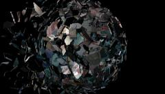 Euros globe sphere combining and breaking apart animation - stock footage