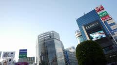Tokyo Japan Shibuya Building Tops 3 Stock Footage