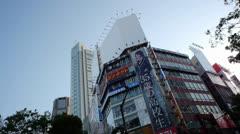 Tokyo Japan Shibuya Building Tops - stock footage
