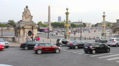 Traffic in the Place de la Concorde, Paris Stock Footage