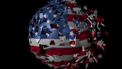 USA Korean flag sphere combining and breaking apart animation Stock Footage