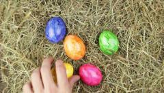A pile of hay with easter eggs Stock Footage
