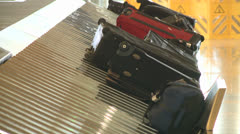 AIRPORT BAGGAGE TERMINAL LUGGAGE CONVEYOR MACHINE HD 1080 Stock Footage