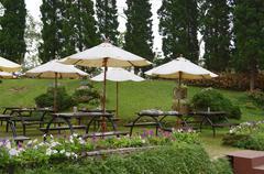 Exterior of an outdoor garden restaurant Stock Photos