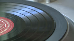 CLOSE UP OF OLD TIME RECORD ON PLAYER SPINNING AND NEEDLE HD 1080 Stock Footage