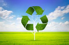 tree as a recycle symbol - stock illustration