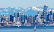 Stock Photo of seattle skyline sailboats puget sound cascade mountains washington state