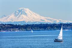 Mount rainier puget sound north seattle snow mountain washington state Stock Photos