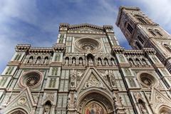 Duomo cathedral giotto bell tower facade florence italy Stock Photos