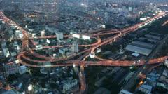 Large urban highway interchange Stock Footage