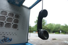 Vandalized Payphone Booth - Camera Raw Footage Stock Footage