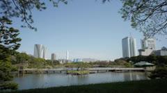 Tokyo Japan From Hamarikyu Gardens Stock Footage