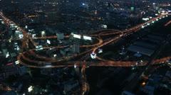 Urban interchange at night Stock Footage
