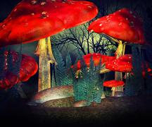 red mushrooms magic wonderland backdrop - stock illustration